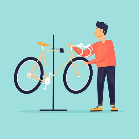 Bicycle repair. Flat design vector illustration.