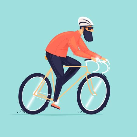 Graveled a bicycle, a man rides a bicycle. Flat design vector illustration. 版權商用圖片 - 148400582