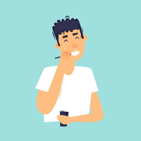 Morning, man brushes his teeth, daily routine. Flat design vector illustration.