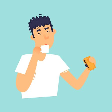 Morning, the man has breakfast, the daily routine. Flat design vector illustration.