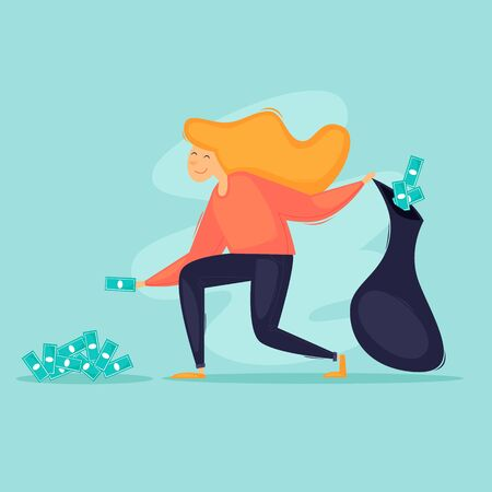 Woman collects money in a bag, successful business. Flat design vector illustration. 向量圖像