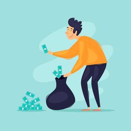 Successful businessman, a man collects money in a bag. Flat design vector illustration.