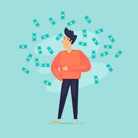 Successful businessman, a man around a lot of money. Self-confident. Flat design vector illustration.