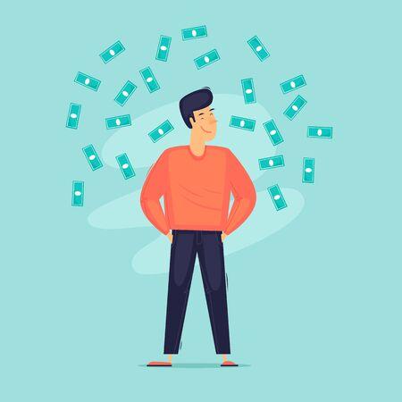 Successful businessman, a man around a lot of money. Self-confident. Flat design vector illustration. 版權商用圖片 - 148400594