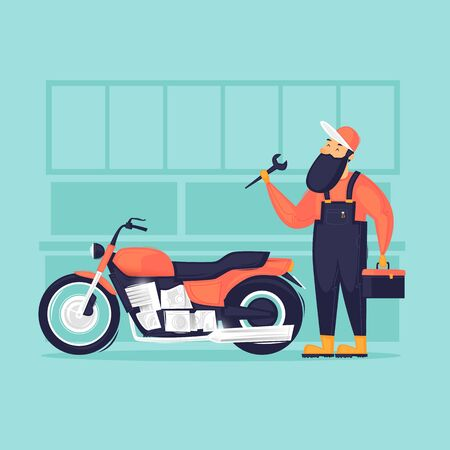 Motorcycle repair. Flat design vector illustration.