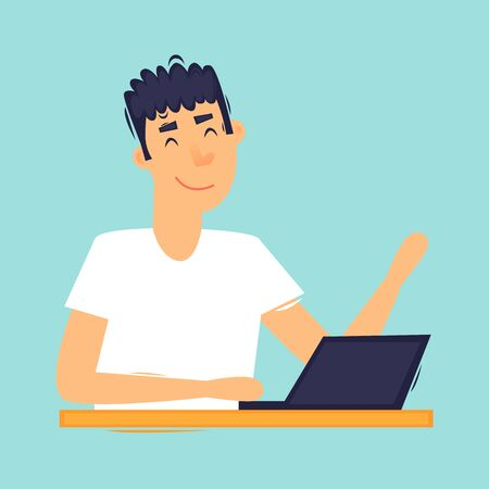 Daily routine, a man works at a laptop. Flat design vector illustration.