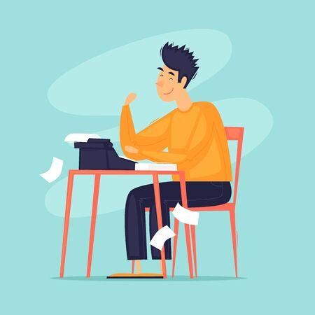 Writer sits writing on a typewriter. Flat design vector illustration.