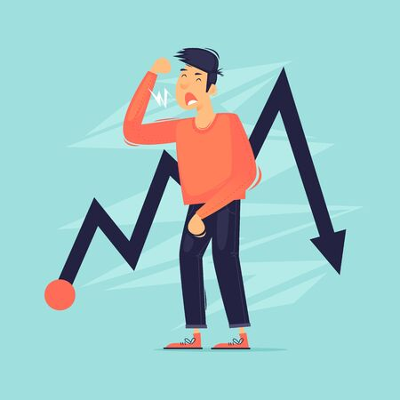 Crisis, unemployment, failure in business. Flat design vector illustration. 版權商用圖片 - 149856773