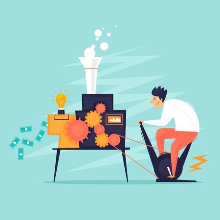 Makes money. Businessman twists the mechanism for the production of money. Flat design vector illustration.