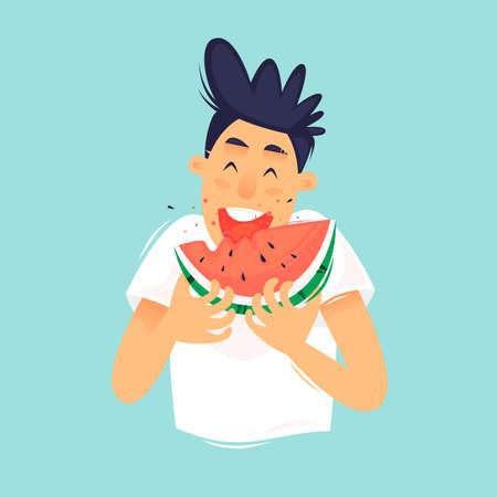Guy is eating a watermelon. Flat design vector illustration. Ilustração
