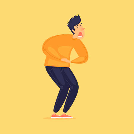 Man has a stomach ache. Diarrhea, virus. Flat design vector illustration.