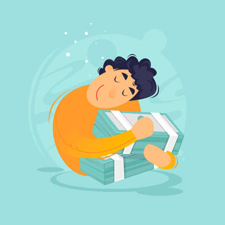 Man hugs money, successful business. Flat design vector illustration.