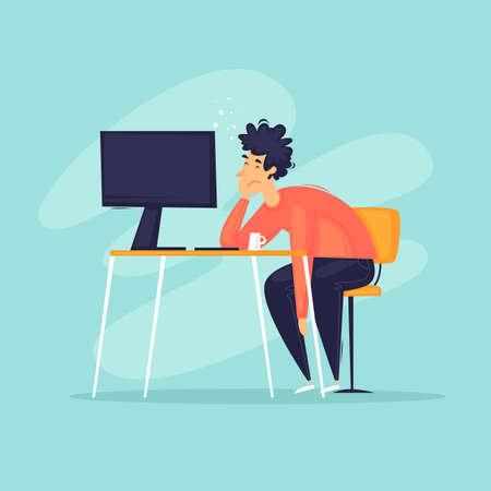 Burnout, tired office worker. Apathy, depression, a man lies on the desktop. Flat design vector illustration. 向量圖像