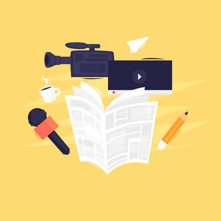 News, newspaper, video camera and microphone. Flat design vector illustration.