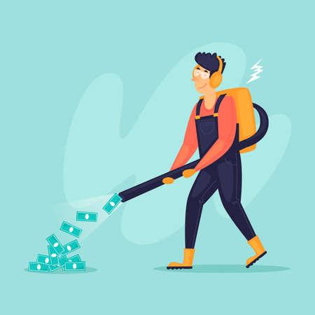 Man vacuums money, successful businessman. Flat design vector illustration. 向量圖像