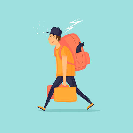 Emigration, moving to another country. The man is carrying suitcases. Flat design vector illustration. 版權商用圖片 - 152373121