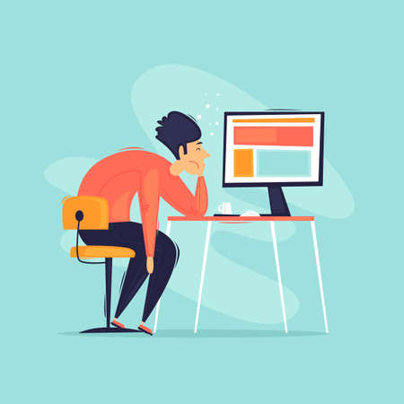Burnout, tired office worker. Apathy, depression, a man lies on the desktop. Flat design vector illustration. 版權商用圖片 - 152369251
