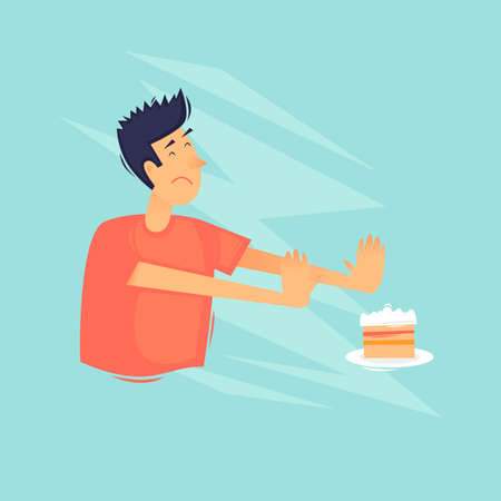 Refusal of sweets. Diet. Healthy lifestyle. Flat design vector illustration.