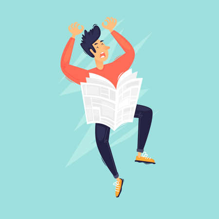 Bad news, a man is reading a newspaper. Flat design vector illustration. 向量圖像