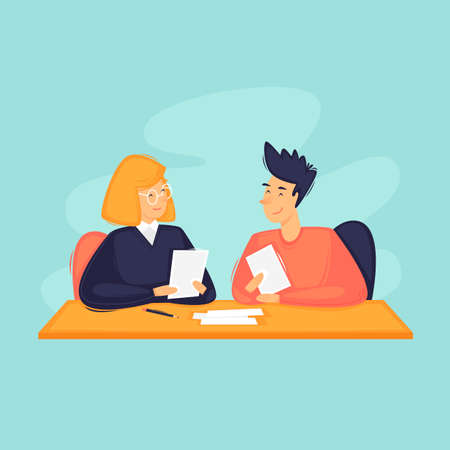 Business consultant, a woman consults a man. Bank. Flat design vector illustration. 向量圖像