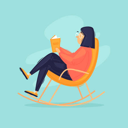 Stay at home, a woman is reading a book while sitting on a rocking chair. Flat design vector illustration. 版權商用圖片 - 154528010