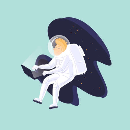 Remote work. Astronaut with laptop in space. Flat design vector illustration.
