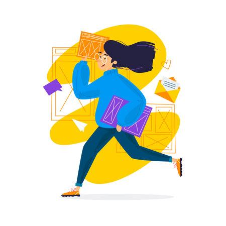 Designer UI UX. Girl runs with a project. Flat design vector illustration.