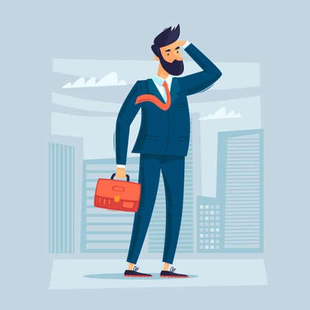 Job search, a man in a suit with a briefcase is looking for. Flat design vector illustration. 版權商用圖片 - 160640500