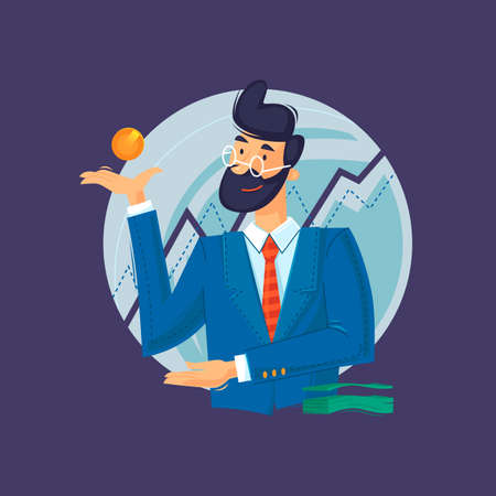 Business consultant, statistic analysis. Man in suit, successful businessman. Flat design vector illustration.