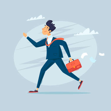 Job search, a man in a suit with a briefcase is looking for. Flat design vector illustration. 向量圖像