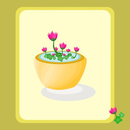 Beautiful flora lotus with flower pot art graphic design colorful abstract background vector illustration.