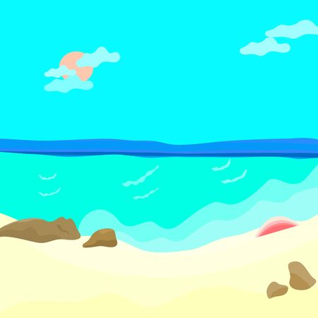 We love to travel  island in summer.  See view beach and sand colorful with abstract background wallpaper illustration