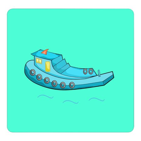 Motorboat propel logistic boat in river graphic vector illustration.