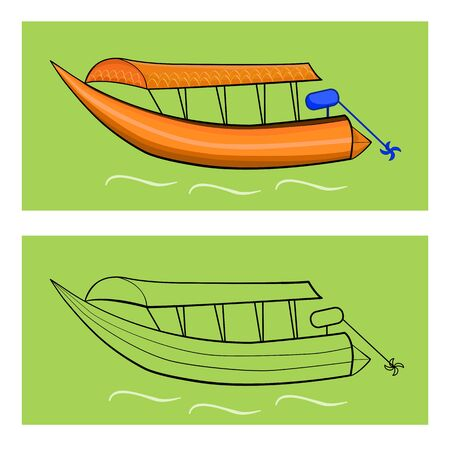Passengership for people in river with abstract background illustration.