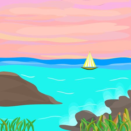 Sea with ship abstract background vector illustration