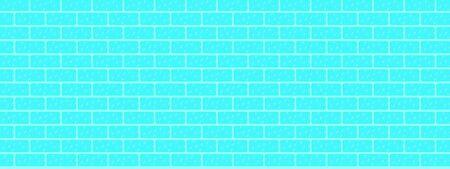 Modern blue brick wall vector.