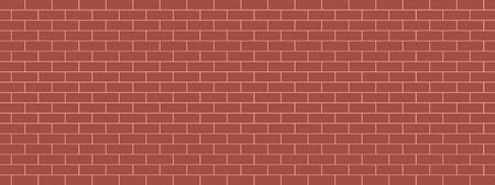 Red brick wall abstract background panorama pattern seamless vector illustration.