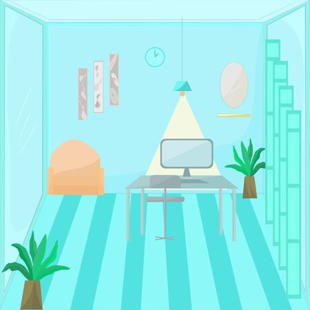 Coronavirus Covid-19 concept work from home.  Interior room with abstract background vector illustration. Illusztráció