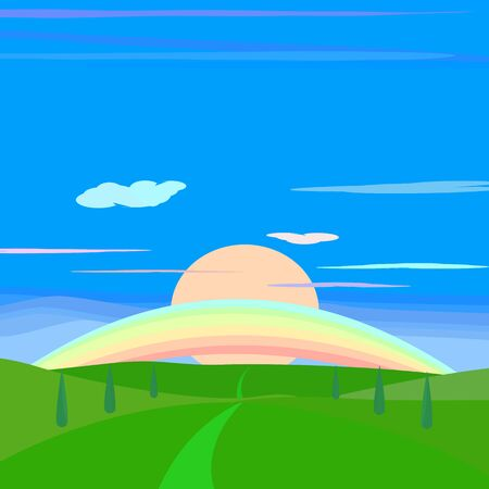 Landscape countryside meadow with blue sky clouds and rainbow abstract background scenery wallpaper vector illustration graphic design Vectores