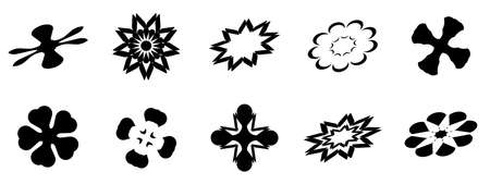 Set of black silhouette of flowers starburst icon collection.  Abstract background pattern texture vector illustration graphic design Illusztráció