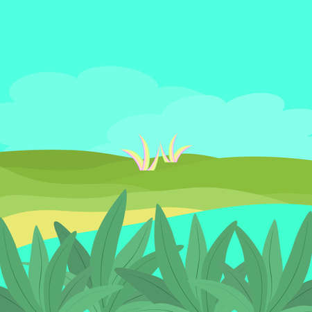 Nature green valley countryside landscape in spring with abstract background texture scenery wallpaper vector illustration art graphic design.