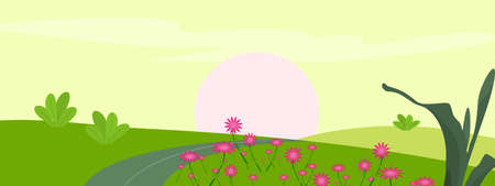 Beautiful flower plants with road and sun light in nature landscape countryside meadow in summer season holiday, abstract background texture wallpaper art graphic design vector illustration Illustration