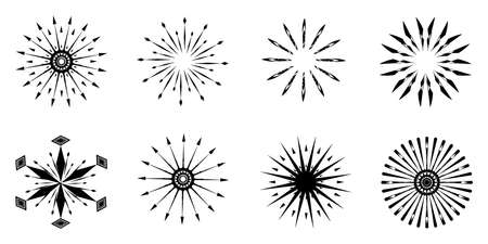 Collection of silhouette black stars snowflakes flake circle radial icons decoration vector illustration abstract background texture wallpaper art graphic design minimal Ilustracja