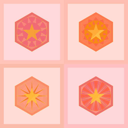 Vector : Set of icons element, stars, banner, mandala, mosaic flooring template frame with abstract background backdrop frame graphic design pattern seamless concepts illustration 向量圖像