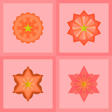 Vector : Set of mandala color, banner,  stars icons shape, object decor, snowflakes decoration element with abstract background texture wallpaper vector and illustration pattern seamless vintage