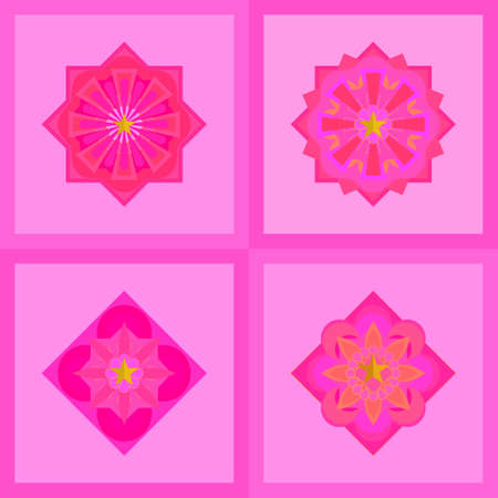 Vector : Set of pink colorful mandala, banner,  flower, star icons shape decoration illustration with abstract background texture wallpaper pattern seamless vintage