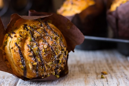choco chips: Crafting muffin with pistachio
