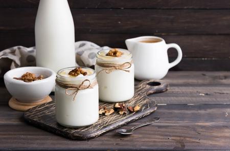 Georgian matsoni yoghurt with honey and walnuts Stock Photo