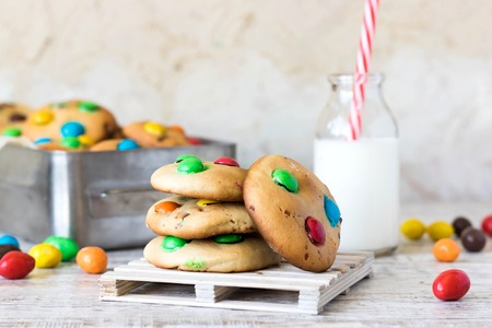 Homemade American biscuits with colorful chocolate sweets
