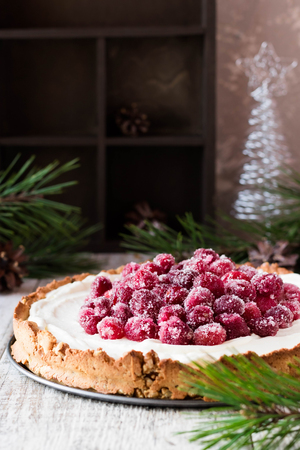 Cranberry meringue with cream cheese for the New Years table